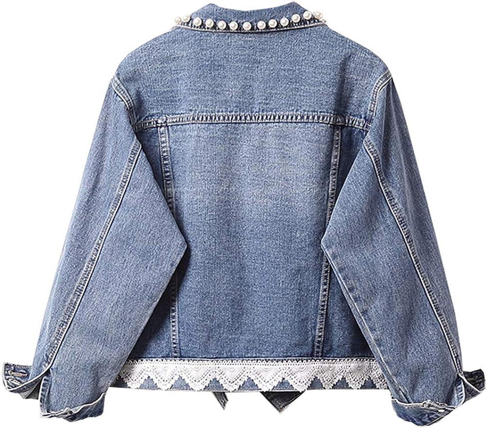 SCOFEEL Women's Jean Jacket Long Sleeve Denim Jackets Coat with Pearls
