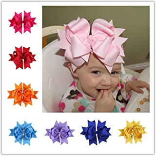 Bzybel 12 Pcs Little Girl's 7.5 Boutique Spike Big Hair Bow Clips Grosgrain Ribbon Alligator Clips Headwear with Free Crochet Headbands for Baby Shower Gift 12 Colors
