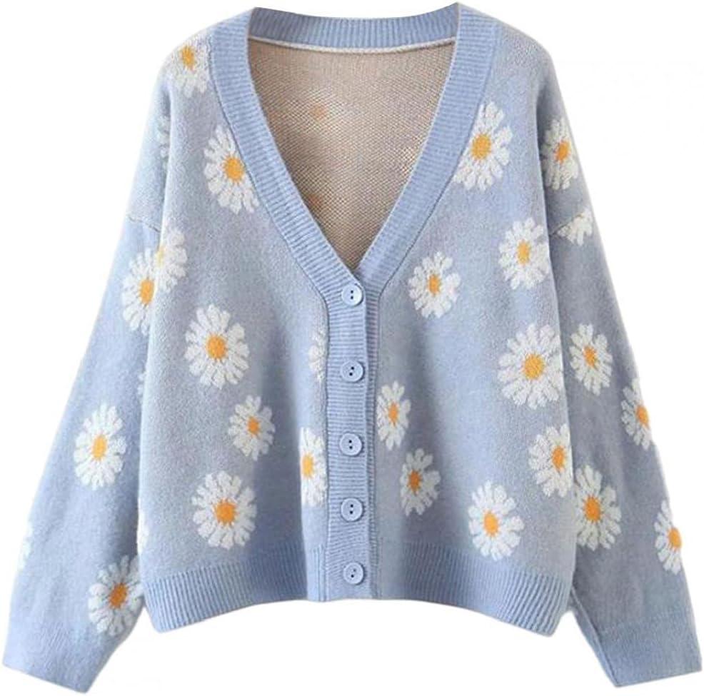 EElabper Women V-Neck Autumn Sweater Cardigan 5Buttons Knitted Coat Flowers Printed Long Sleeve Outwear Blue