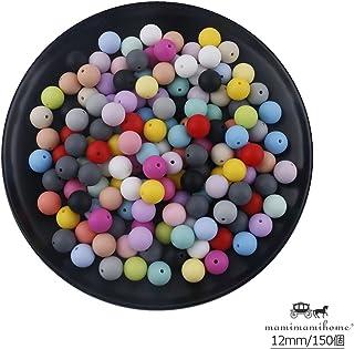 Mamimami Home 歯固め ビーズ 安全素材 シリコーン製 12MM?150個 ミックスカラー 授乳チュアブルボール DIY おしゃれ噛がため おしゃぶりチェーン 赤ちゃんの玩具 [BPAフリー][FDA認可済]
