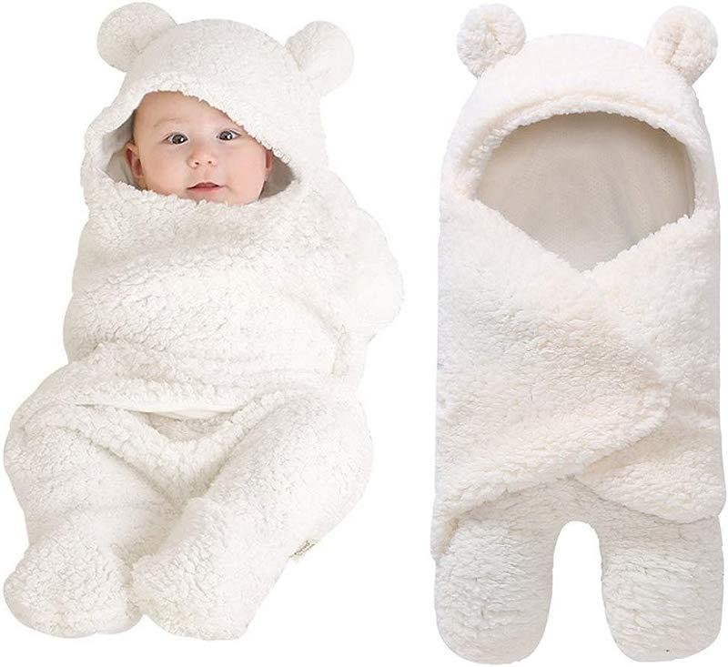 Yezike Newborn Nightgowns Baby Boy Girl Cute Swaddle White Sleeping Wrap Blanket White