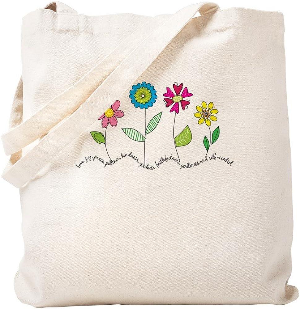 CafePress Vintage Natural Canvas Tote Bag, Reusable Shopping Bag, Flowers
