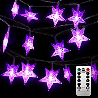 Firedee 50 LEDs Halloween String lights, Purple Star String Lights with Remote, Battery Operated,Halloween Indoor Outdoor Decoration, Timer, Dimmer, Waterproof, 8 Modes