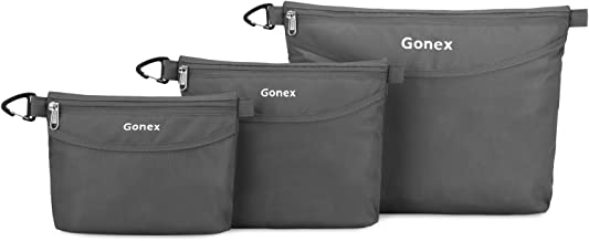 Gonex Travel Packing Toiletry Pouches with Zippers Water-resistant Packing Bag Organizer 3 Sets-Large, Medium& Small for Travel, Office, Outdoor, Art Gray