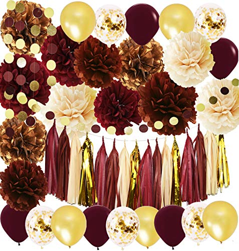 Graduation Decorations 2021 Burgundy Gold Birthday Decorations for Women 40th/50th Birthday Wine Burgundy Fall in Love Bridal Shower/Wedding Decorations Big Size Tissue Pom Pom Maroon Gold Balloons