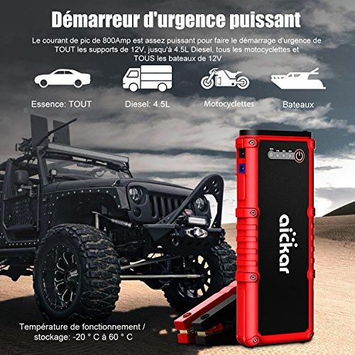 Aickar 800A pico 19800mAh, Arrancador de salto (todo el gas y el motor diesel 4.5L)arrancador portátil del salto de la batería de automovil,banco de potencia, linterna LED incorporada con cables de puente para vehículos pesados