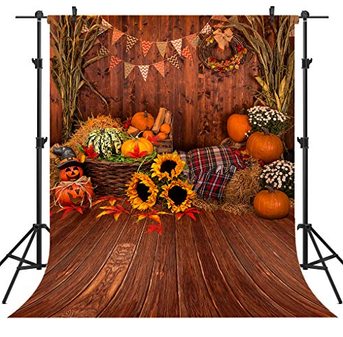 OUYIDA 6X9FT Fall Thanksgiving Wooden Floor Barn Autumn Pumpkins Maple Leaves Sunflower Baby Portrait Party Halloween Decoration Vinyl Photography Backdrop Photo Booth Background Studio Prop TP295A