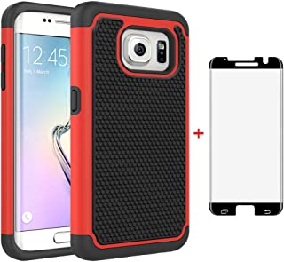 Phone Case for Samsung Galaxy S7 Edge with Tempered Glass Screen Protector Cover and Cell Accessories Slim Rugged Hybrid Full Body Heavy Duty Protective Glaxay S7edge S 7 Plus GS7 7s 7edge Cases Black