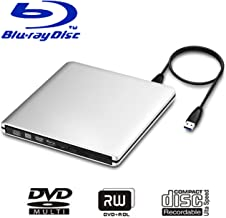 USB 3.0 External Blu-Ray DVD/BD/CD Drive, Portable Ultra-Thin 3D Blu-ray Player/Writer/Burner Used for The MacBook Pro Air, Apple Mac and So On Various Brand Computer Desktop, Laptop (Silver`)