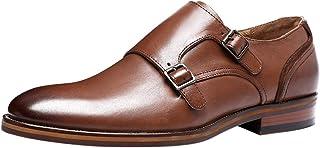 Santimon Chaussures à Boucle de Ville Homme Classique Double Monk Strap Business Mariage Habillées Loafer Derby en Cuir No...