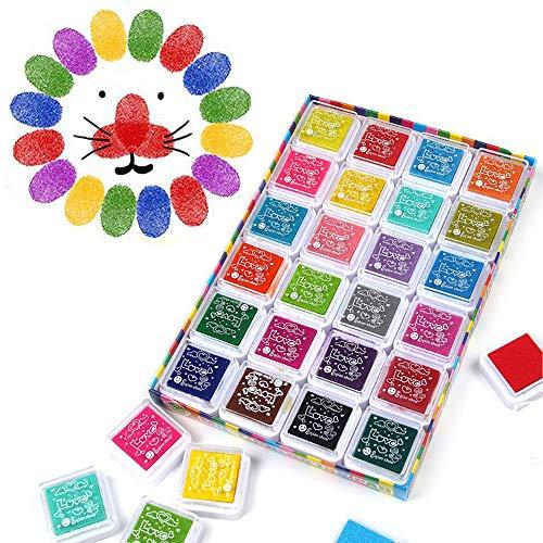 Funxim 24 Colores Lavable Almohadillas de Sellos Safe no Tóxico de Almohadilla Tinta para Madera Papel Tela arco iris sello tampón estampilla de goma Scrapbooking tarjeta fabricación decoración Niños