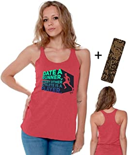 Date A Runner Other Athlete is A Player Racerback Tank Tops + Bookmark