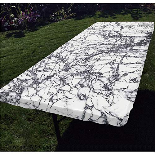 Apartment Decor Polyester Fitted Tablecloth,Murky Marble Rock Motifs with Dynamic Fractal Figures Abstract Artsy Print Rectangular Elastic Edge Fitted Table Cover,Fits Rectangular Tables 60x30' Grey W