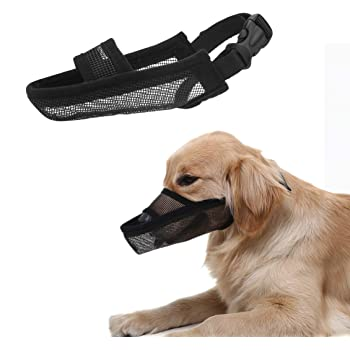 Crazy Felix Nylon Dog Muzzle for Small Medium Large Dogs, Air Mesh Breathable and Drinkable Pet Muzzle for Anti-Biting Anti-Barking Licking