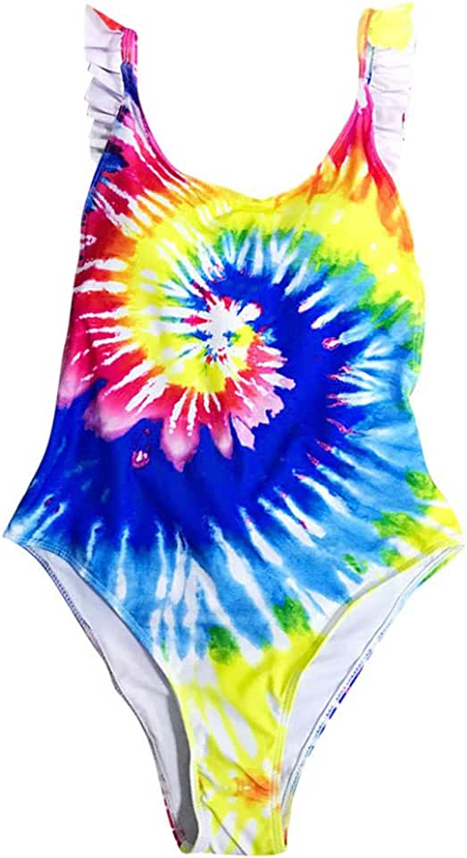 XianNv Fashion Womens One-Piece Swimsuit Bathing Suits Tie-Dye Color Printing Bikinis Swimwear Beach Wear