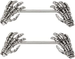 skeleton hand nipple ring