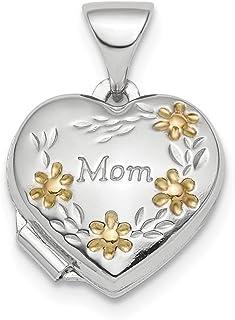 Ciondolo in argento Sterling 925 placcato oro floreale mamma cuore medaglione per le donne