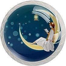 Ladeknop Pull Handle 4 stuks Crystal Glass Cabinet lade trekt kast knoppen, Lezen op de maan