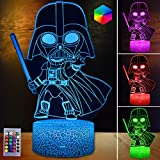 HutaoLi 3D Illusion Star Wars Night Light for Kids, 16 Colors Changing Star Wars Toys, Remote & Smart Touch LED Night Lamp for Room Decor, Christmas and Birthday Gifts for Kids and Star Wars Fans…
