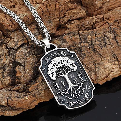 Heren Ketting RVS Dubbelzijdig Viking Warrior War Horse Life Tree Amulet Hanger Titanium Stalen Sieraden