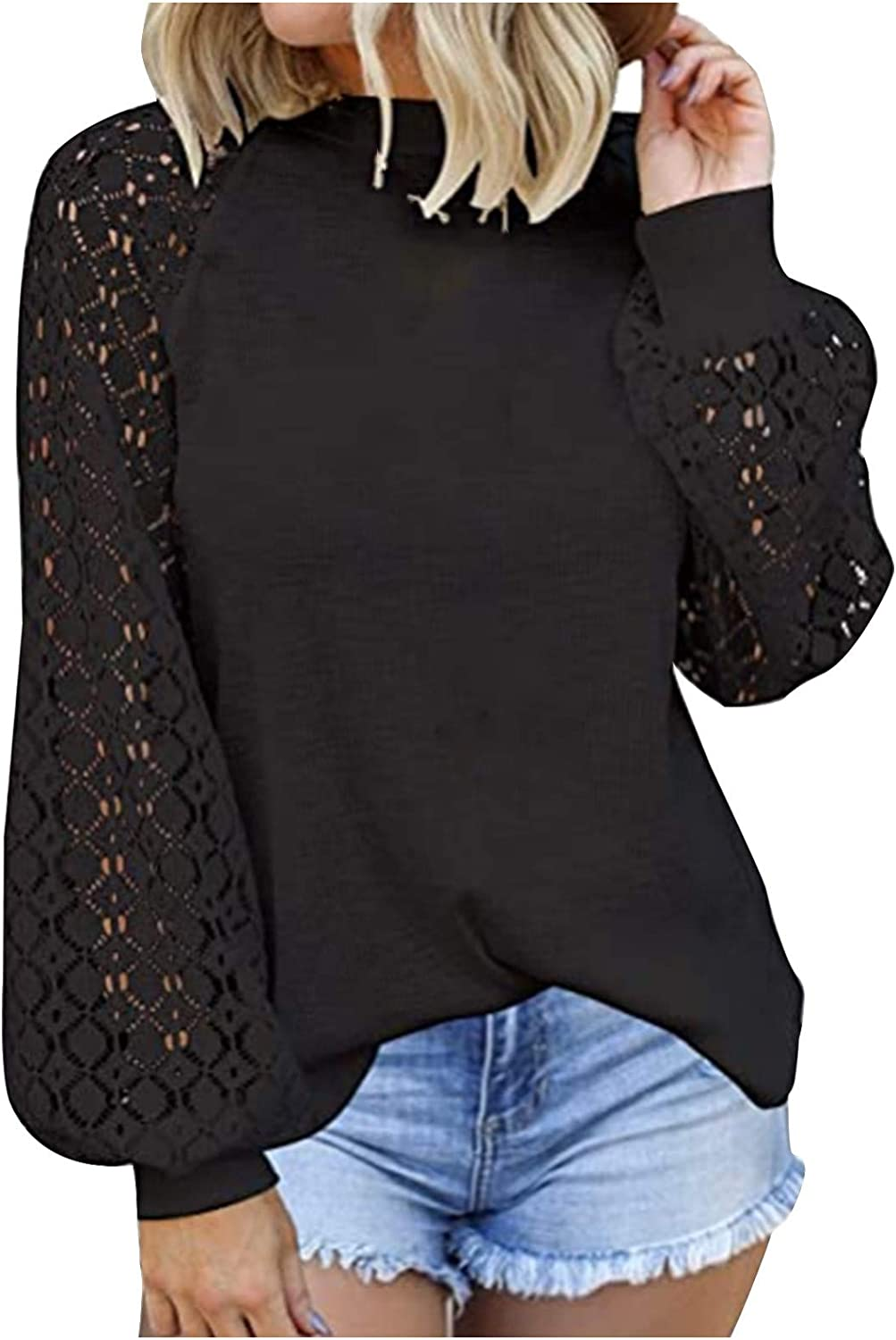 Women's Long Sleeve Tops Lace Blouses Casual Special Campaign Loose outlet T Shirts