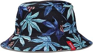 Exlura Unisex Bucket Hat Reversible Fisherman Hat Plant Printed Solid Color Outdoor Sun Hat Packable