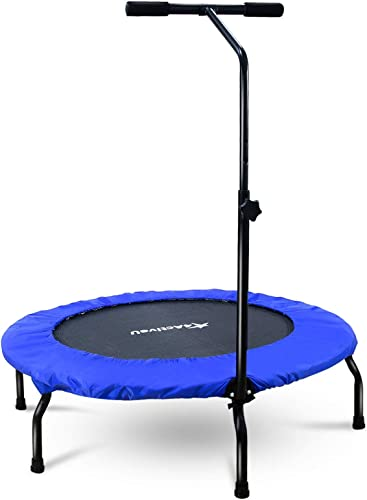4ActiveU 40-Inche Foldable Mini Trampoline for Adults Kids | Indoor and Outdoor Fitness Rebounders Exercise Trampoline with Adjustable 3-Level Heights | Upgrade Cardio Trainer Max Load 265lbs