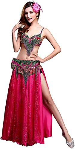 XGWD Robe de Costume de Danse du Ventre Haute Qualité Soutien-Gorge Ceinture Jupe Haut Ensemble de 3 pièces Vêtements de Danse du Ventre Flamenco Costume Rouge Robes,A,XL