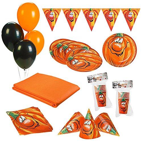 ZeusParty Kit Party Festa in Tavola Halloween Zucca per 12 Persone (1 Tovaglia, 12 Cappellini, 12 Bicchieri, 12 Piatti, 20 tovaglioli, 1 Festone, 10 Palloncini)