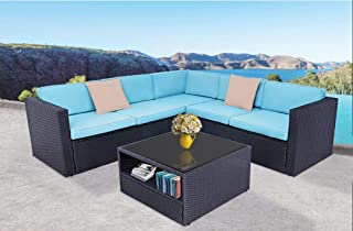 Oakmont Outdoor Patio Furniture 4Pcs Conversation Sectional Sofa with Premium Wicker, Sturdy Frame, Thick Sky Blue Cushions and Beige Pillows Glass Coffee Table, Front Porch Garden Pool Lawn