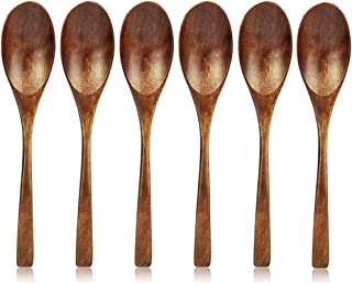 Wooden Spoon for Eating, Rice Soup Spoons, 6 Pieces AOOSY Korean Natural Eco-friendly Tableware Cutlery Ellipse Wooden Coffee Tea Spoon (6 pieces Korean Rice Spoons)