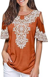 Women's T-Shirt, Sharemen Women's Short Sleeve O-Neck Loose T-Shirt Print Off-Shoulder Top