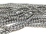 jennysun2010 2mm Natural Non-Magnetic Hematite Gemstone Round Ball Beads 16'' Inches Metallic Silver 1 Strand for...