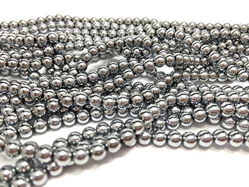 jennysun2010 2mm Natural Non-Magnetic Hematite Gemstone Round Ball Beads 16'' Inches Metallic Silver 1 Strand for Bracelet Necklace Earrings Jewelry Making Crafts Healing