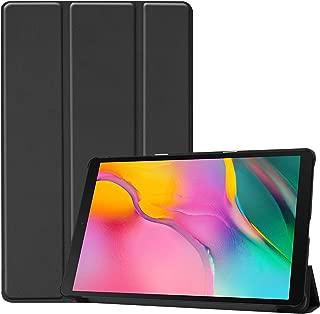 PUBAMALL Funda Compatible con Samsung Galaxy Tab A 10.1 Tablet (2019), Carcasa con Soporte Función, Auto-Sueño/Estela (Negro)
