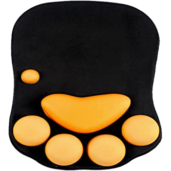 ケイ・ララ マウスパッド リストレスト ハンドレスト おしゃれ 肉球 猫 ネコ ぷにぷにジェル内蔵 手首 軽量 レーザー&光学式マウス対応 [ブラック] y4