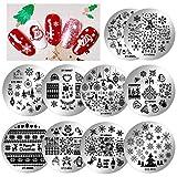 HOWAF10pcs Placas navideñas para decoración de uñas, Reno de Papá Noel, copo de nieve, Placas...