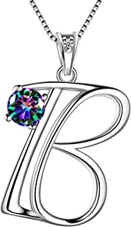 26 Letter Necklace Initial A-Z 925 Sterling Silver Charm Alphabet Pendant Crystal Cubic Zirconia Fashion Jewelry