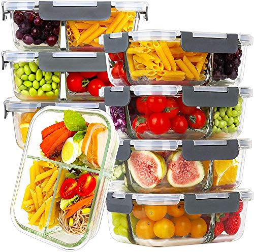 8 Pack Glass Meal Prep Containers 3 Compartment Glass Food Storage Containers with Lids Airtight Glass Lunch Bento Boxes BPA-Free & Leak Proof (8 lids & 8 Containers)-Gray