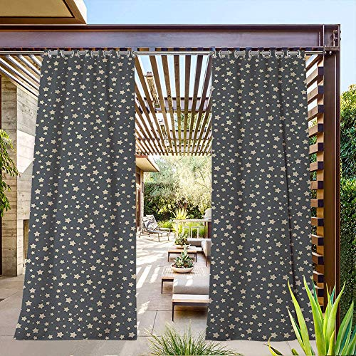 FOEYESEE Extra Long Outdoor Curtains for Patio Abstract Night Sky Illustration Filled with Stars of Different Sizes Artistic Pattern Grey Beige Perfect for Deck/Lanai/Front Porch 84x96 Inch
