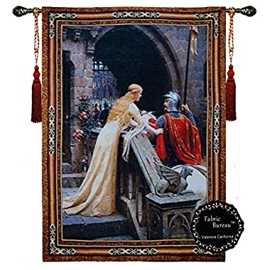 Beautiful Armored Knight Godspeed Medieval (M) Fine Tapestry Jacquard Woven Wall Hanging Art Decor