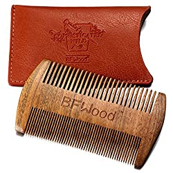 BFWood Beard Comb - Ebony Comb with PU Leather Case, MULTIPLE-WAY
