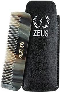 ZEUS Natural Horn Beard Comb, Leather Sheath, G41
