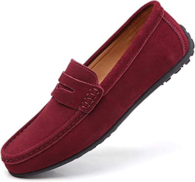 YZHYXS Men Loafers Leather Slip On Driving Shoes