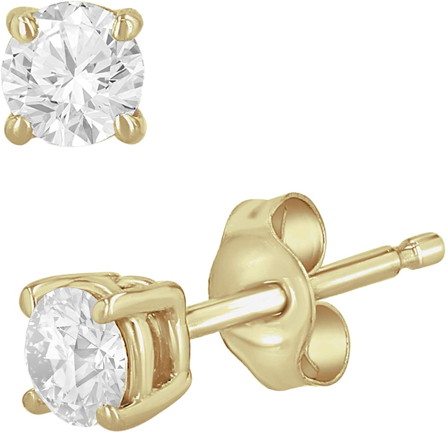 1/5-2 cttw Round Diamond Stud Earrings in 14K White, Yellow, or Rose Gold for Women with Push Backs (1/3cttw and up IGL Certified) - (HI Color, I1 Clarity)