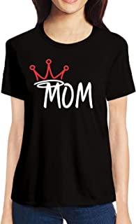 Pooplu Womens Mom is Queen Cotton Printed Round Neck Half Sleeves Black & White t.Shirt. Mothers Day, Mom, Mummy, Aai, Maa,Symbol,Quotes Tshirts