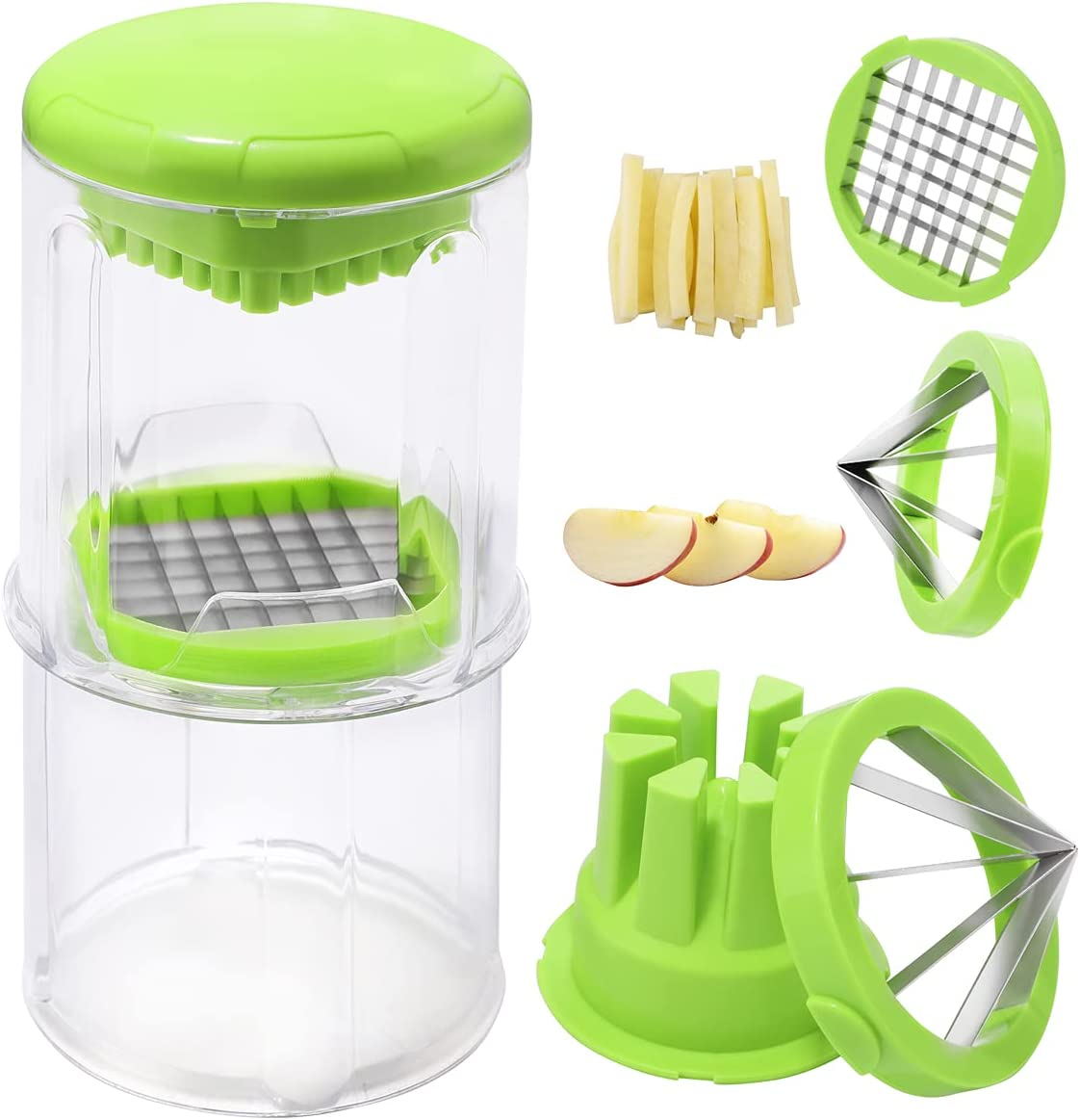 Supernal French Fry Cutter,Apple Slicer Cutter with 2 Size Blades,Vegetable Slicer,Use for Onion, Orange, Cucumber, Carrots, Veggie Sticks, Vegetable Carrot Onion Chopper Easy to Clean