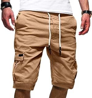 Mens Solid Shorts, Slack Loose Elastic Waist Casual Fitness Pants