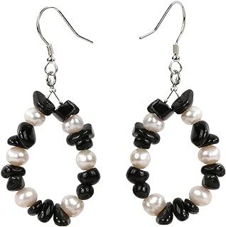 YACQ Teardrop of Mermaid 925 Sterling Silver Natural Gemstone Pearl Dangle Earrings Birthstone Druzy Raw Stone Geode Hoop Tumbled Drop Jewelry Women Teen Girl