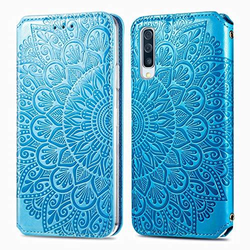 Trugox Funda Cartera para Samsung A70 de Piel con Tapa Tarjetero Soporte Plegable Antigolpes Flor Cover Case Carcasa Cuero para Samsung Galaxy A70 - TRSDA140244 Azul